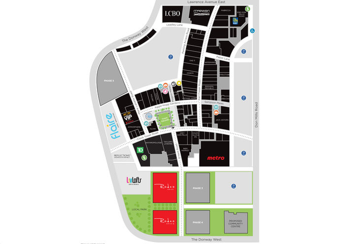 Rodeo Drive Master-Planned Community Map at CF Shops at Don Mills