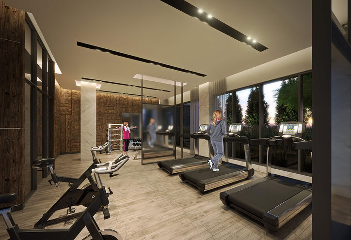 Gym Amenities, SF3 Condominiums on Bayly St & Liverpool Rd on 1215 Bayley St