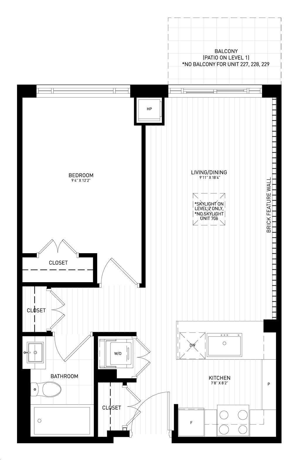 Showcase Lofts By Aragon B5 Floorplan 1 Bed 1 Bath