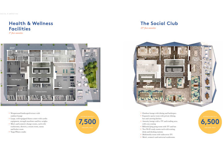 Health & Wellness Facilities <Left> and The Social Club <Right>