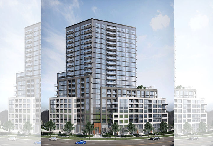 Stella at southside Condos Looking to Tower and Podium Exteriors