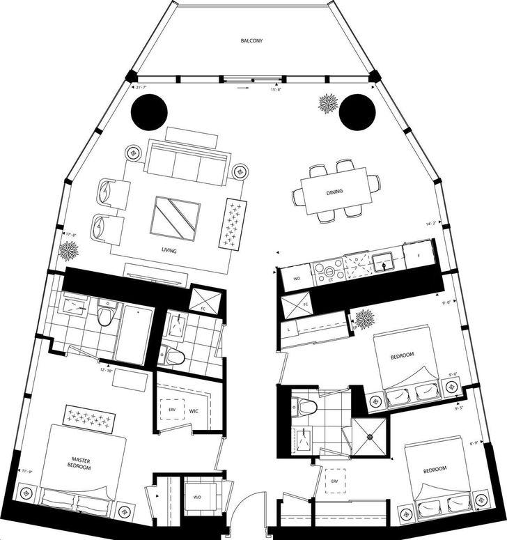 Ten York Condos By Tridel 3a Floorplan 3 Bed Amp 2 5 Bath