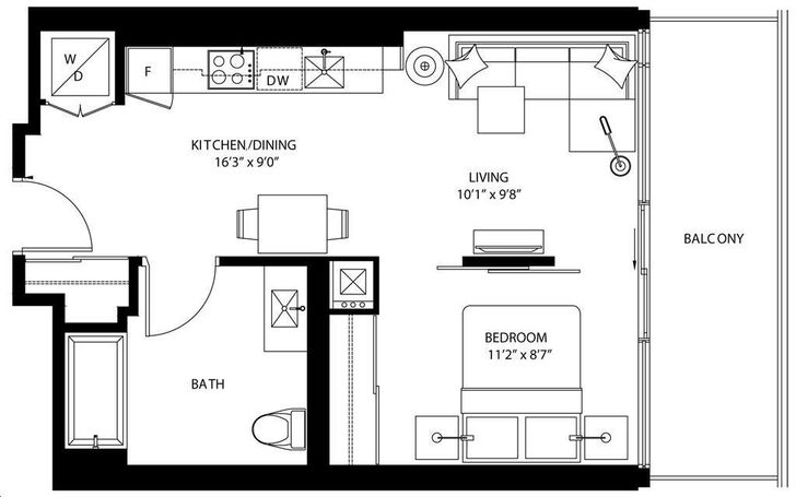 The Bond Condos By Lifetime B524 Floorplan 1 Bed 1 Bath