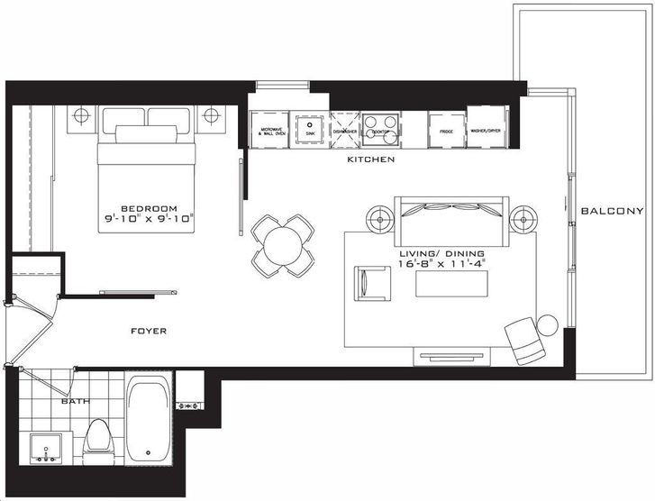 The Britt Condos By Lanterra The Brixton Floorplan 1 Bed 1 Bath