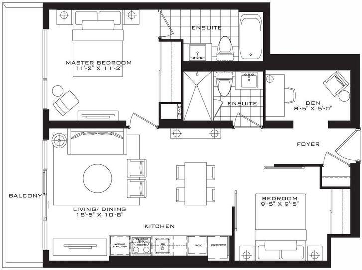 The Britt Condos By Lanterra The Chelsea Floorplan 2 Bed 2 Bath