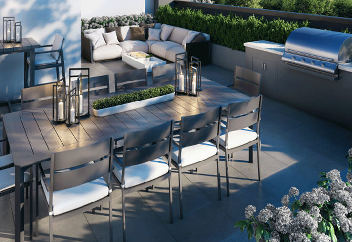 The Butler Condos Rooftop Dining Area with BBQ