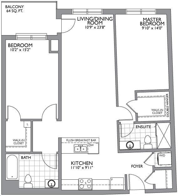 The Cosmopolitan By Ballantry Two Bedroom D Floorplan 2 Bed 2 Bath