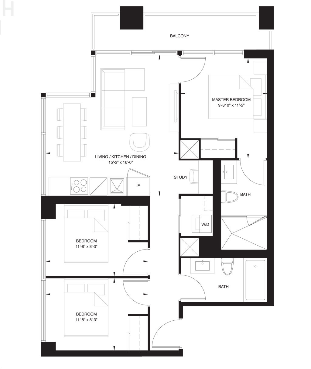 The Forest Hill Condos by CentreCourt Unit 9-M Floorplan 9 bed