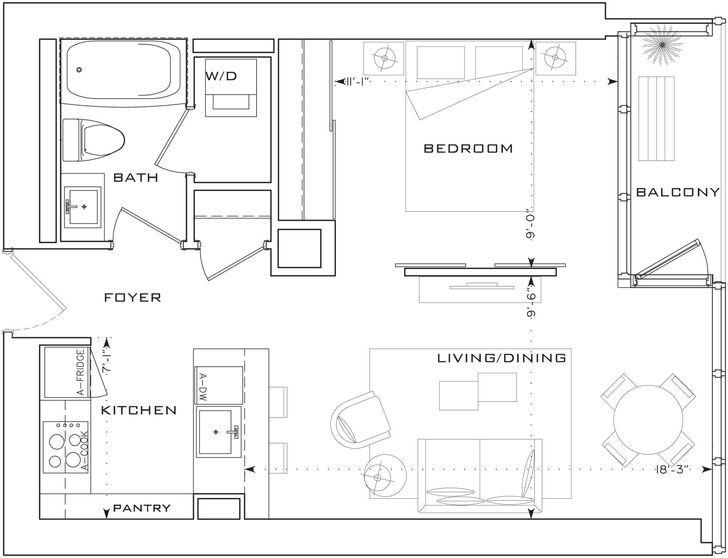 the l tower by cityzen f2 floorplan 1 bed 1 bath. Black Bedroom Furniture Sets. Home Design Ideas