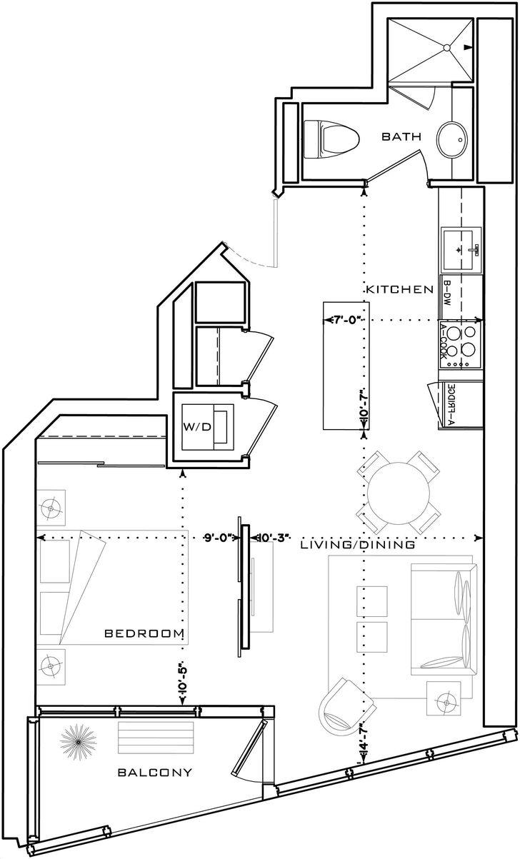 The L Tower By Cityzen Lo A Floorplan 1 Bed Amp 1 Bath