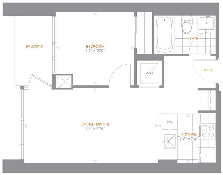 The Pinnacle On Adelaide By Pinnacle 10 Floorplan 1 Bed