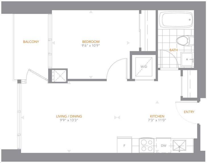 The Pinnacle On Adelaide By Pinnacle 11 Floorplan 1 Bed