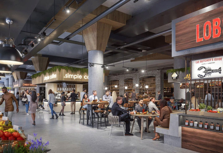 Early Concept- Rendering of Food Court at The Well Condos