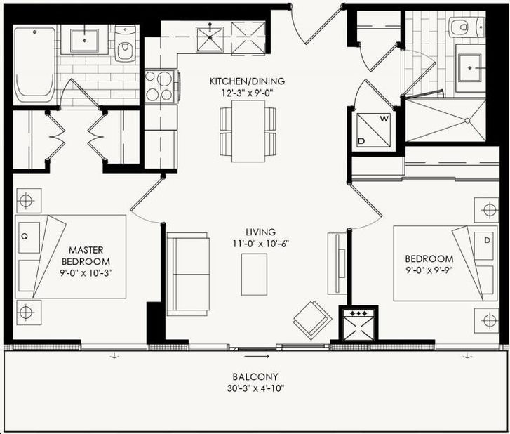 The Yorkdale Condos By Context Cartier 1 Floorplan 2 Bed