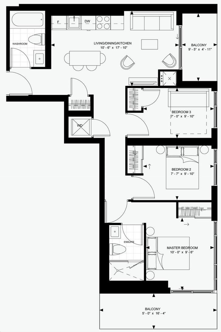 Theatre District Condos by Plaza 8-A Floorplan 8 bed & 8 bath