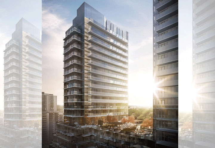 Sunset Views of Untitled Toronto Condos 2 and Outdoor Amenity Space