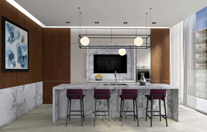 Via Bloor Marble Kitchen area
