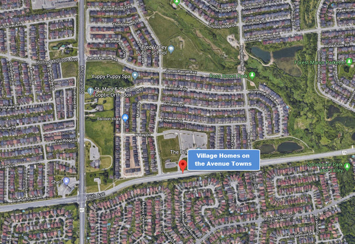 Village Homes on the Avenue Towns Planned Location at 5430 16th Ave, Markham
