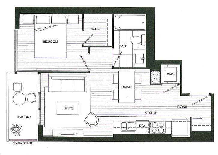 Westlake Condos 2 By Onni 492 Ph Floorplan 1 Bed 1 Bath