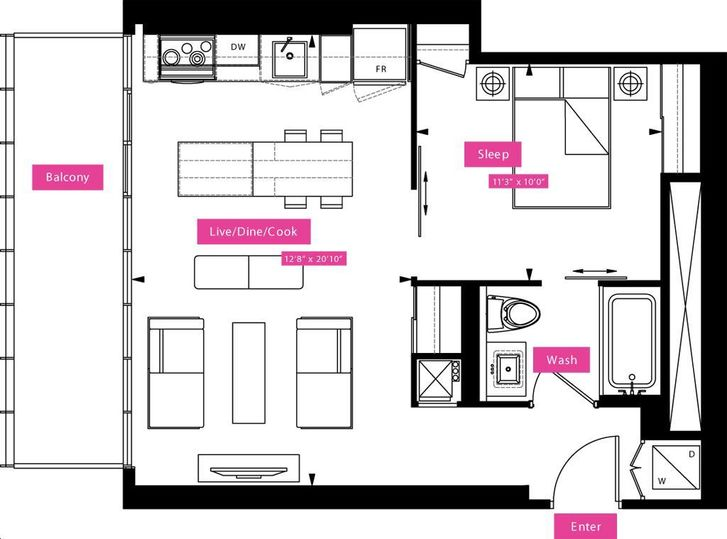 X2 condos by great gulf baldwin floorplan 1 bed 1 bath for Baldwin floor plan