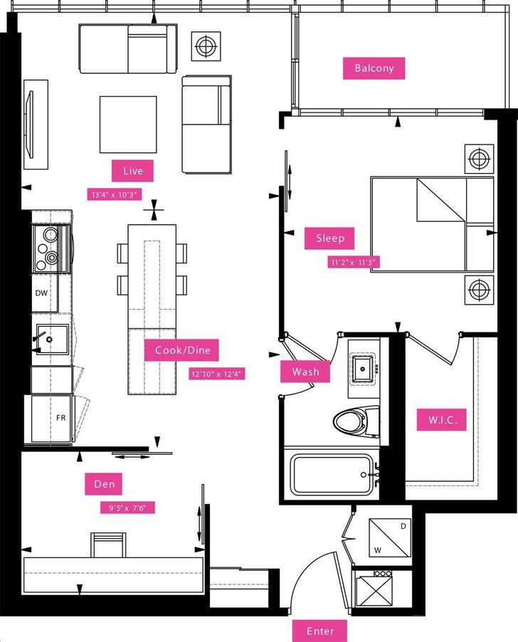 X2 condos by great gulf hayes floorplan 2 bed 1 bath for X2 residency floor plan