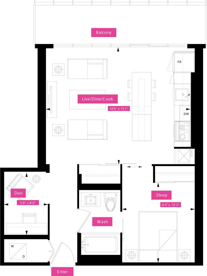 x2 condos by great gulf london floorplan 2 bed 1 bath